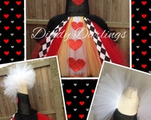 Queen Of Hearts Tutu Dress. Inspired Handmade Dress. All Sizes Fully Customised. Alice In Wonderland. Glitter Hearts. Queen Of Hearts Fancy
