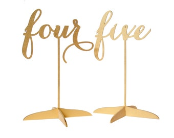 Gold Calligraphy Table Numbers with stands, Carolyna Font, 3D Laser Cut
