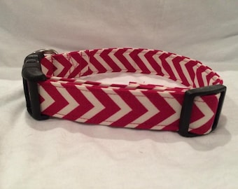 Dog Collar - Pink & White Chevron