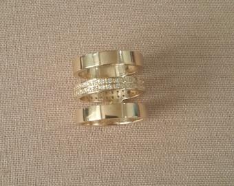 Triple-Band and Diamond 14k Yellow Gold Ring