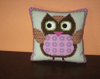 Ms Owl Needlepoint Pillow