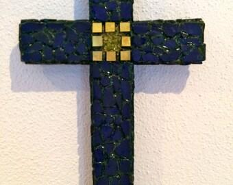 Cross sculpture handmade olivine/Peridot gems blue with small Golden tesserae
