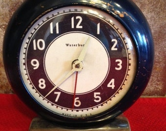 Antique Blue Circular Alarm Clock by US Time Corporation