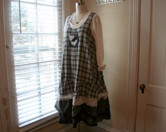 Recycled French Tiered Petticoat 'Maryse' Dress / - by Breathe-Again Clothing