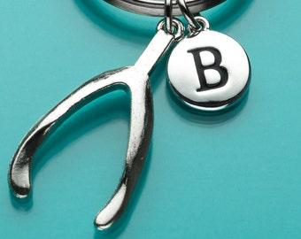 Wishbone Keychain, Wishbone Key Ring, Initial Keychain, Personalized Keychain, Custom Keychain, Charm Keychain, 381