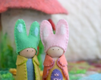Easter Bunny Family Peg Doll  - Waldorf Peg Gnomes- Wood Peg Gnomes