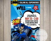 Batman Custom Printable Birthday Invitation