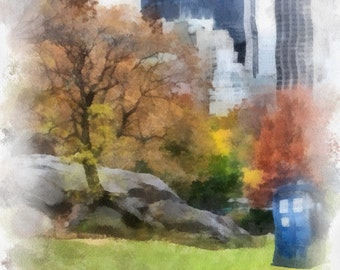 Doctor Who Tardis in Central Park in Watercolor (Instant Download)
