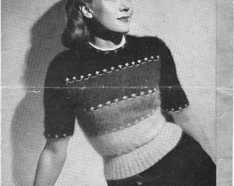 1940s Vintage Knitting Pattern - Womens Sweater/Jumper 34 inch chest