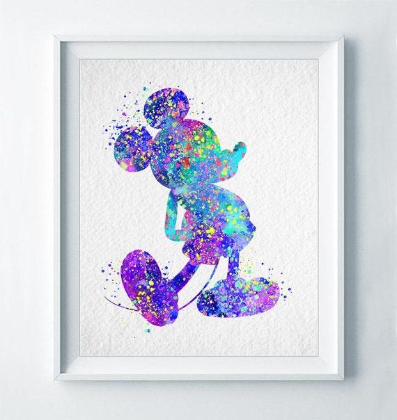 Mickey Mouse Art Print Imprimer Disney Affiche Aquarelle