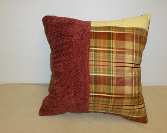 """Pillow Red & Gold Plaid Patchwork with Red 14"""""""