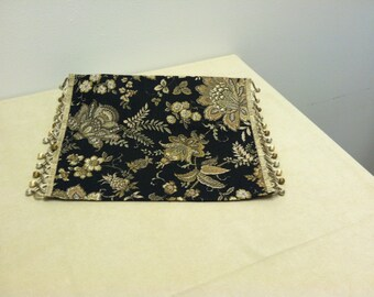 Placemats Black and Cream Floral with Trim