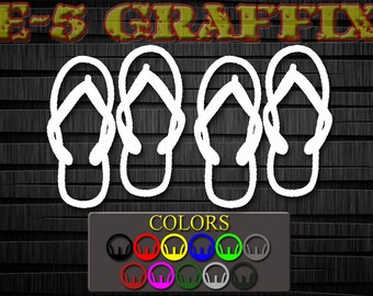 Flip Flops Pair vinyl decal.