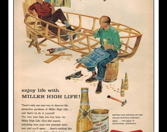 "Vintage Print Ad 1956 : Beer - Miller High Life Art Decor 8.5"" x 11"" Advertisement"