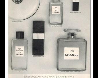 "Vintage Print Ad January 1966 : Chanel No 5 Perfume Wall Art Decor 8.5"" x 11"" Advertisement"