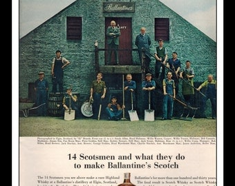 "Vintage Print Ad May 1962 : Ballantine's Scotch Whisky Scotsmen Liquor Wall Art Decor 8.5"" x 11"" Advertisement"