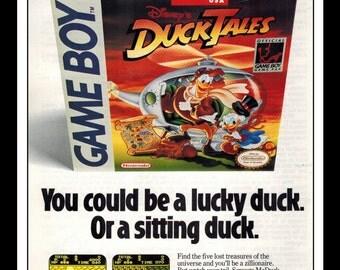 """Vintage Print Ad 1990's : Nintendo Gameboy Disney Duck Tales Uncle Scrooge  6.5"""" x 10"""" Advertisement"""