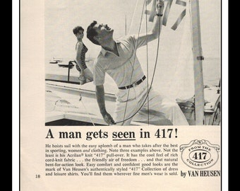 "Vintage Print Ad July 1962 : Van Heusen 417 Clothing Sailing Wall Art Decor 5.5"" x 5.5"" Advertisement"