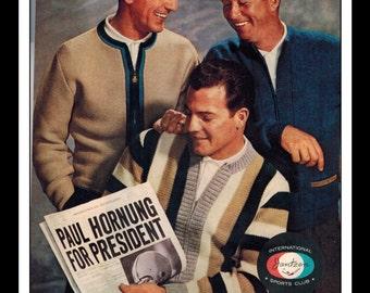 """Vintage Print Ad September 1962 : Jantzen Clothing Frank Gifford (NFL New York Giants) Wall Art Decor 8.5"""" x 11"""" Print Advertisement"""