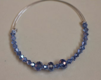 Blue Adjustable Memory Wire Bracelet. (S-150066)