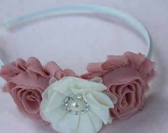Dust pink headband ivory flower girl headband blush pink and ivory wedding headband plasti headband toddler hard headband girls headband
