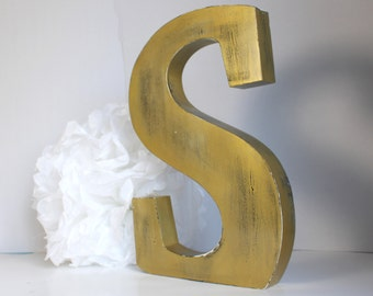 great letter wood to ask industrial style patina