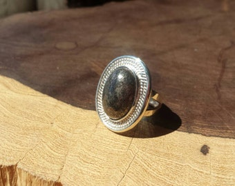 Handcrafted, Pyrite, Ring, Size 7, Sterling Silver, Quality, Unique, Everyday Wear, Elegant, Shimmering, Sparkling