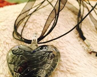 SALE Murano glass heart grey black pendant organza ribbon leather necklace