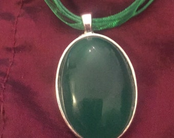 Sale Onyx green silver pendant on organza ribbon necklace