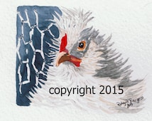 Frizzle Rooster original watercolor painting