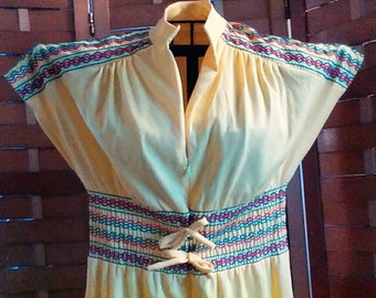 DANCE FEVER!!!!!  60s/70s yellow jumpsuit / multi colored trim