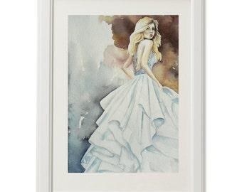 Wedding dress, watercolor illustration, original painting, fashion illustration, figure painting, watercolor painting, white, blue 13x9