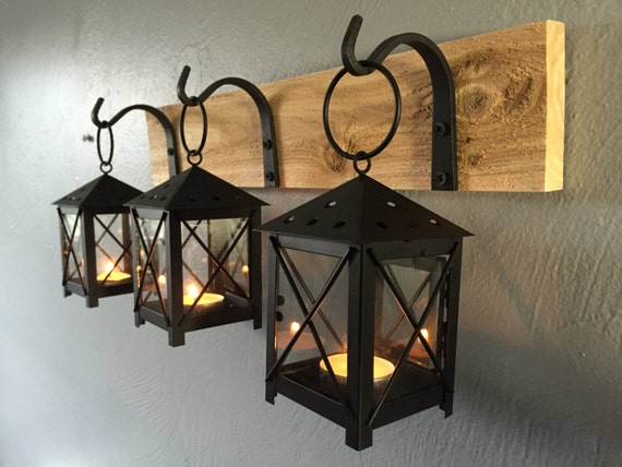 Items similar to Rustic Candle Lantern Sconces - Wall Decor - Wall Sconce - Candle Lantern ...