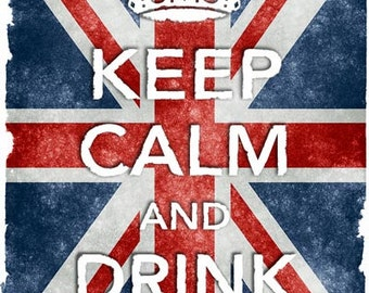 KC8 Vintage Style Union Jack Keep Calm Drink Vodka Poster Re-Print Wall Decor A2/A3/A4