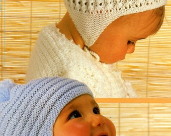Knitting Pattern Baby Toque : Knit Baby Hats Vintage Knitting Pattern bonnet visor beanie