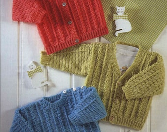 Crochet Cardigan and Sweater V-Neck/pullover/ Vintage Pattern Sizes Newborn to 6 years  sweater/ohhhbabybaby/ jumper pdf instant download