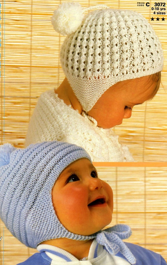 Vintage Knitting Patterns Baby Hats : Knit Baby Hats Vintage Pattern toddler knitting earflap bonnet