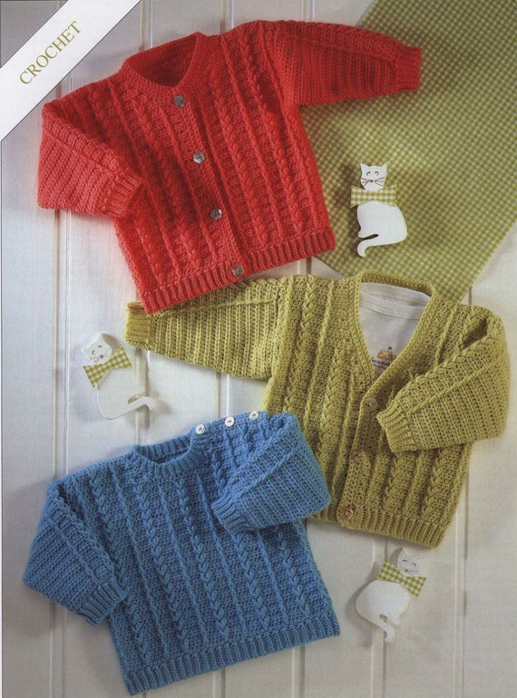 Crochet Cardigan and Sweater V-Neck/pullover/ Vintage Pattern