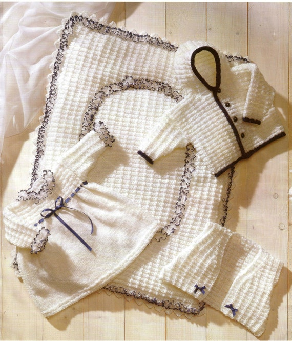 Knit Baby Dress Hooded Jacket Vest Quilt Vintage Pattern
