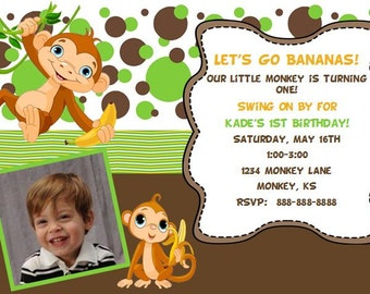 Monkey First Birthday Invitation