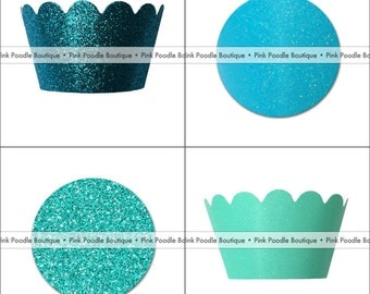 GLITTER Sparkle CUPCAKE WRAPPERS (4 pc, 12 pc, 24 pc) -- choose from Teal, Turquoise, Aqua, Robin's Egg Blue