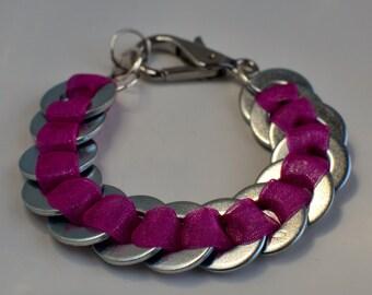 Metal Washer Bracelet With Ribbon