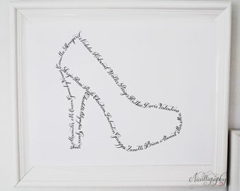 Shoe, Heels, Pumps Modern Calligraphy Art