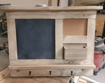 large message center primitive finish message center chalk board cork board letter holder