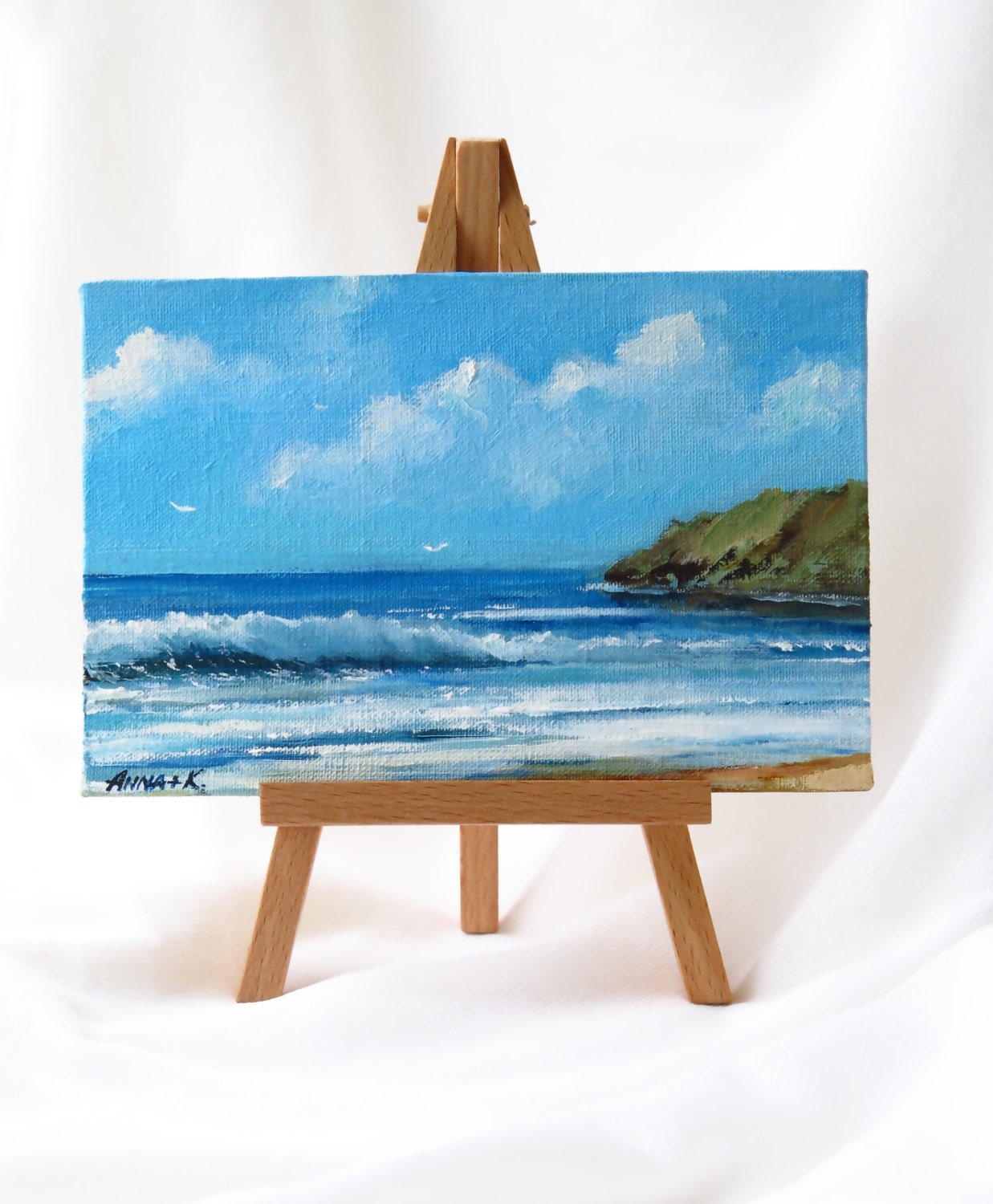 Small canvas art Small oil painting Miniature sea painting