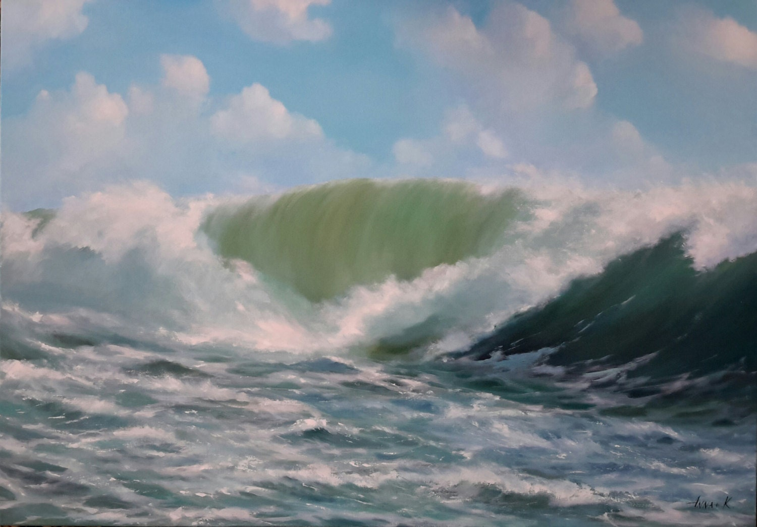 art, wave painting, wave art, surfing art,water joy,oil painting ...