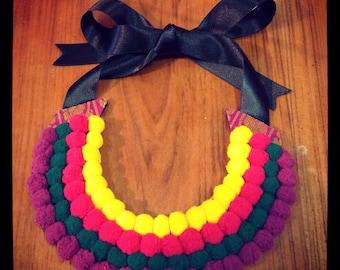 Handmade ethnic bib necklace.