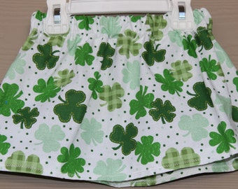 Baby Toddler Girls St. Patricks Day Skirt-Shades of Green Shamrocks with White Background