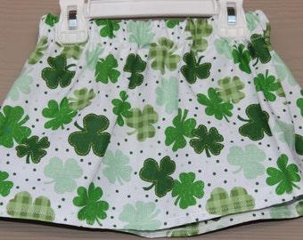 Baby Toddler Girls St. Patricks Day Skirt-Shades of Green Shamrocks with White Background