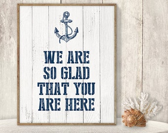 We Are So Glad That You Are Here // Wedding Guest Thank You Sign DIY // Nautical Anchor Printable PDF // Nautical Planks ▷ Instant Download